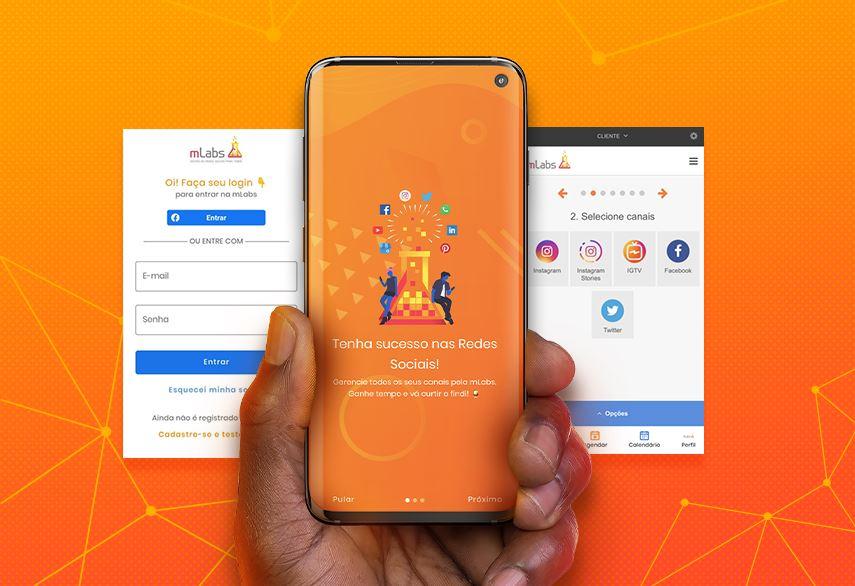 aplicativo de redes sociais: imagem de uma mão segurando um celular com o app da mLabs na tela e ao fundo mais duas imagens do aplicativo