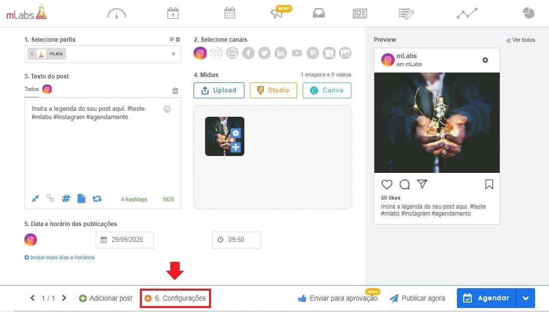 postagem automática instagram: imagem da tela de agendamento da mLabs indicando onde se localiza o botão de configurações do post