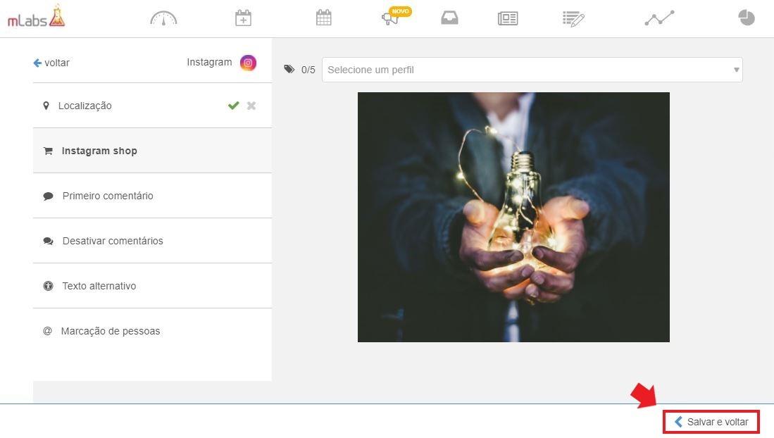 postagem automática instagram: imagem da tela de recursos do post do feed do instagram