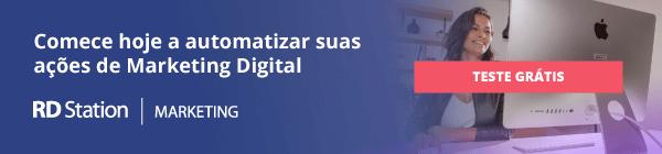 """banner-rd-station: imagem de uma pessoa olhando para o computador e ao lado a frase """"comece hoje a automatizar suas ações de marketing digital"""""""