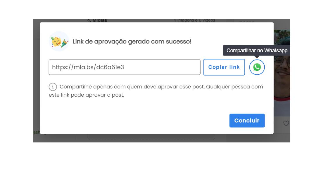 postagem automática instagram: Tela interna da plataforma da mLabs na qual o usuário pode copiar um link gerado para a aprovação de conteúdo ou encaminhar pelo WhatsApp.