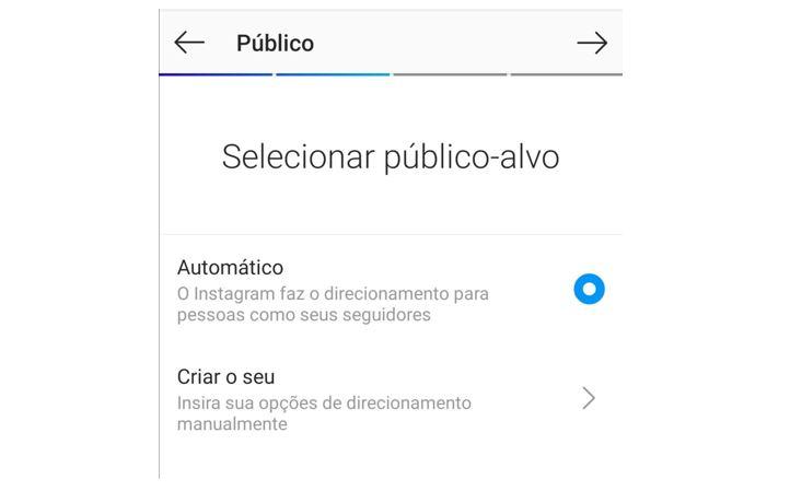 como impulsionar no instagram: imagem da tela de seleção de público