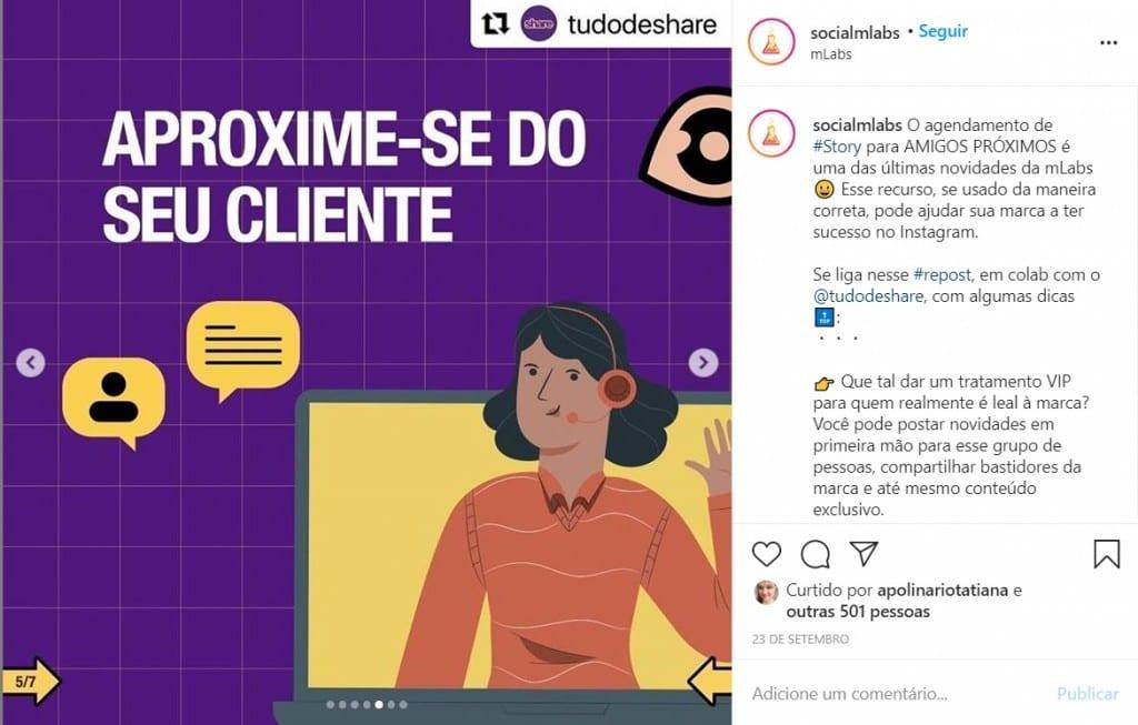 O_que_e_copywriting: no print, uma publicação do Instagram da mLabs que utiliza uma série de emojis ao longo do seu texto. A intenção é ilustrar como esses recursos ajudam a organizar as ideias da publicação e geram espaçamento entre as linhas.