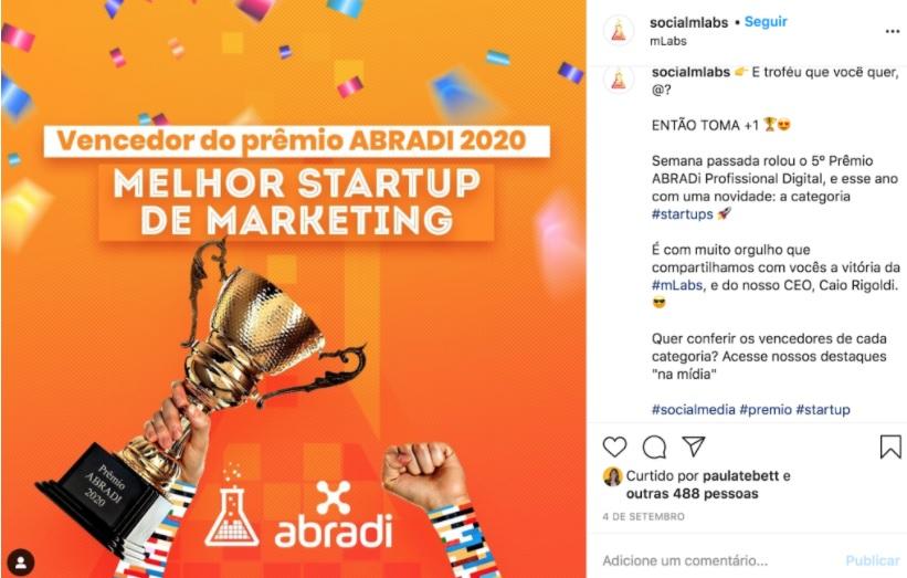 """O que e copywriting: Nesta publicação do Instagram, a mLabs comprova a sua autoridade celebrando o prêmio de melhor startup de marketing dado pela """"abradi""""."""