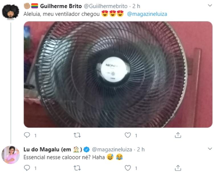 O que e UGC: Na imagem está representada uma interação de marca pelo Twitter. Nela um usuário comemora a compra de um ventilador e cita o nome do Magazine Luiza, que responde celebrando a chegada de refresco ao calor do cliente.