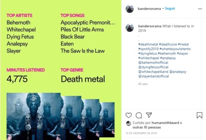 Propagandas criativas: a arte retrata uma publicação no Instagram de um usuário que compartilhou suas músicas mais ouvidas no ano de 2019, um recurso possibilitado pela inteligência artificial do Spotify.