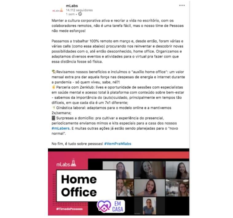 O_que_e_copywriting: a imagem é um print tirado de uma postagem do LinkedIn da mLabs abordando a situação de home office dos colaboradores da empresa.