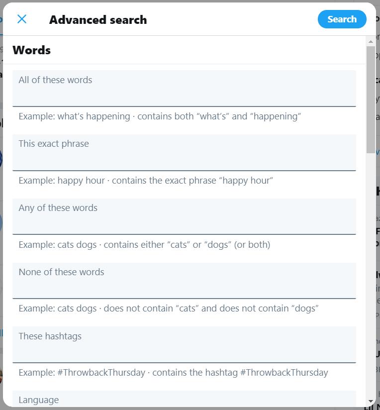 Como usar Twitter 3: imagem que mostra o recurso de busca avançada do Twitter, que pode ser encontrada dentro da rede social. Nela é há vários campos que podem ser completados com palavras-chaves que a pessoa quer encontrar.