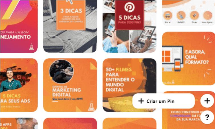 """O que é Pinterest 3: a imagem ilustra a criação de um Pin no Pinterest, nela o botão com símbolo """"+"""" está pressionado, abrindo a opção """"+ criar um pin""""."""