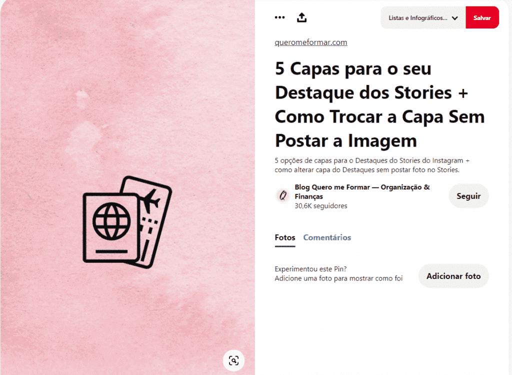 Capas para Stories 6: a imagem ilustra um pin do Pinterest que oferece opções de capas para stories, basta clicar em salva para levar essa seleção para dentro das pastas do seu perfil.