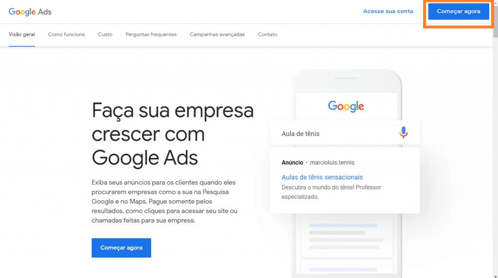 Como criar conta no google ads: imagem da tela inicial do Google Ads