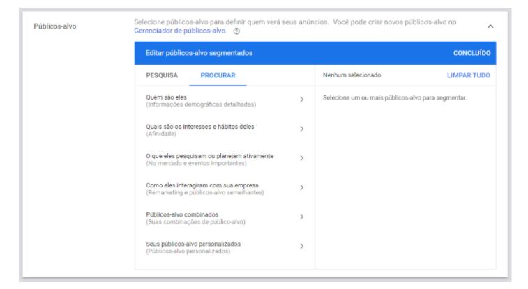 Rede de Display 3: o Google Ads permite que você faça uma segmentação considerando o público-alvo que pretende trabalhar.