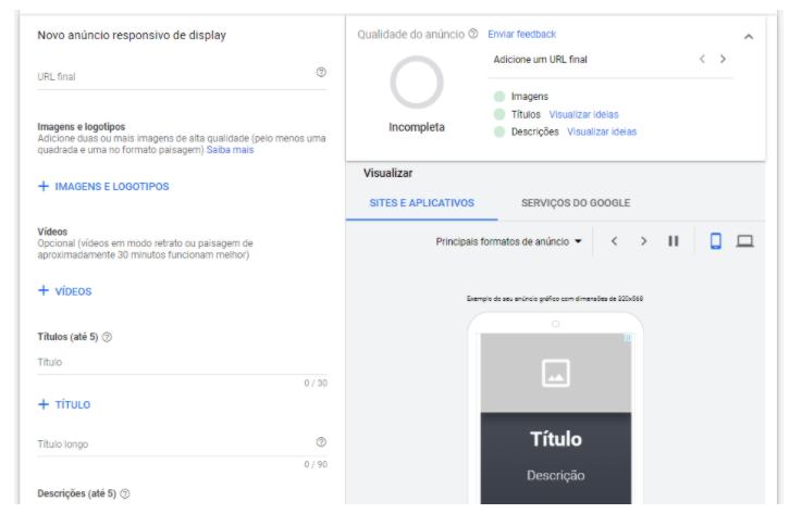 Rede de Display: outra alternativa que o Google Ads permite é de subir a sua arte e ele automaticamente adaptar para os tamanhos de tela que serão aplicadas os anúncios.