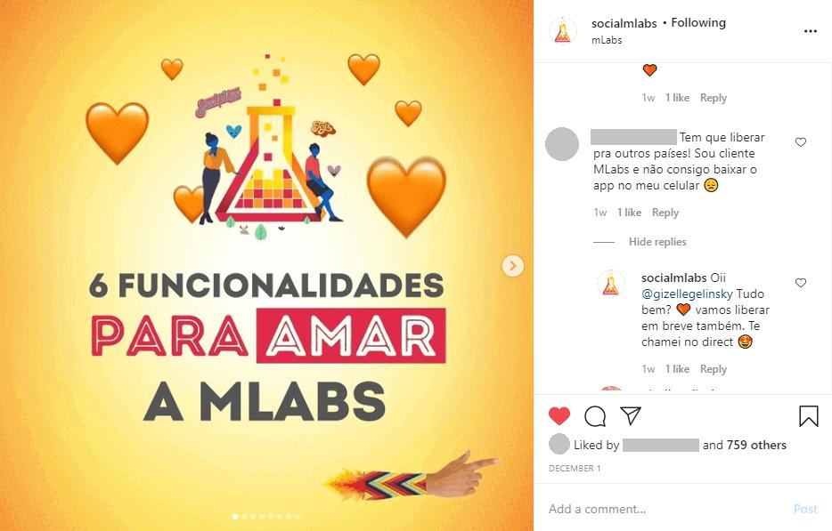 comprar seguidores no Instagram: imagem de um post da mLabs em que um seguidor pede para liberar a ferramenta para mais países!