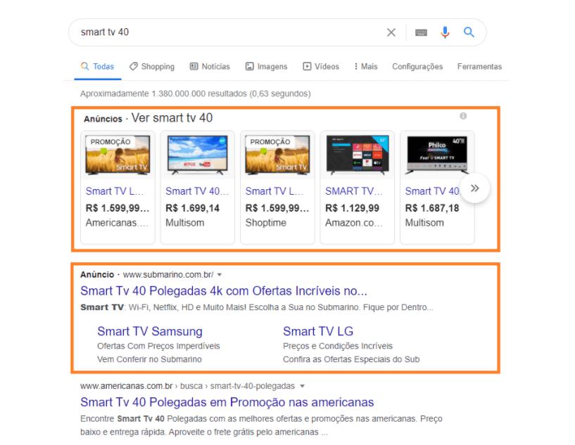 Rede de Pesquisa do Google Adwords 1: As pesquisas pagas realizadas pela rede de pesquisa aparecem acima dos resultados orgânicos na página dos buscadores, a imagem mostra duas pesquisas pagas uma no formato shopping, que mostra diversos produtos em diferentes lojas online.
