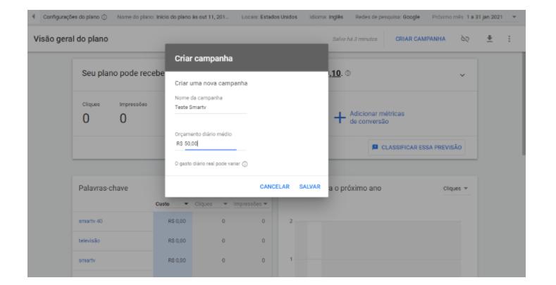 """Rede de Pesquisa do Google Adwords: o quinto passo referente a criação de uma campanha na rede de pesquisa é a seleção do nome da campanha e o orçamento diário médio que você está disposto a gastar. Essas opções aparecem assim que você clica no botão """"Criar campanha"""""""
