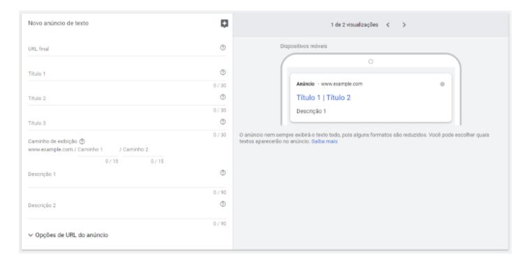 Rede de Pesquisa do Google Adwords: a plataforma vai dando uma prévia de como o seu anúncio vai ficando conforme você vai escrevendo o copy da sua campanha.