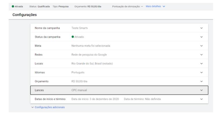 Rede de Pesquisa do Google Adwords: com tudo selecionado, a tela que vai aparecer é a de configurações, mostrando que a sua campanha está ativa ou desativada. Uma bola verde marcará que está ativada.