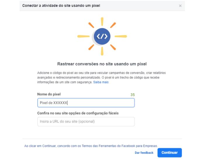 Facebook Analytics: as opções do pixel estão descritas nessa opção, você pode escolher o nome do pixel e inserir a URL do seu site para assim gerar o código.
