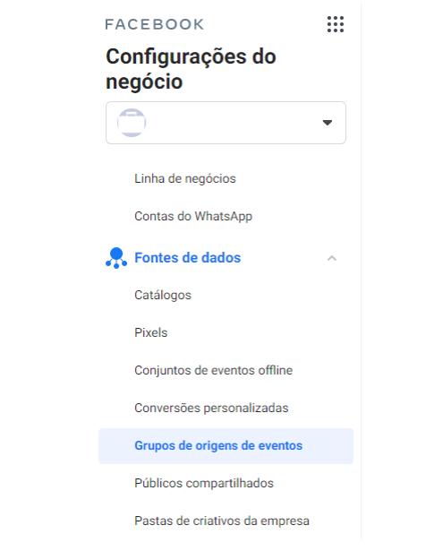 """Facebook Analytics: dentre as opções do menu do Facebook Analytics, o """"Grupos de origens de eventos"""" é a quinta opção da subdivisão """"Fontes de dados""""."""