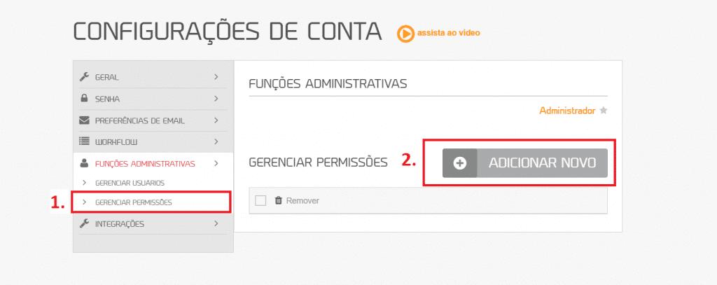 """workflow mLabs: tela da plataforma da mLabs dois retângulos vermelhos destacam as opções """"Gerenciar permissões"""" e """"Adicionar Novos"""""""