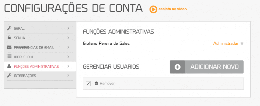 workflow mLabs: na aba de configurações de conta aparece o nome da lista de usuários membros que estão cadastrados dentro da plataforma da mLabs.