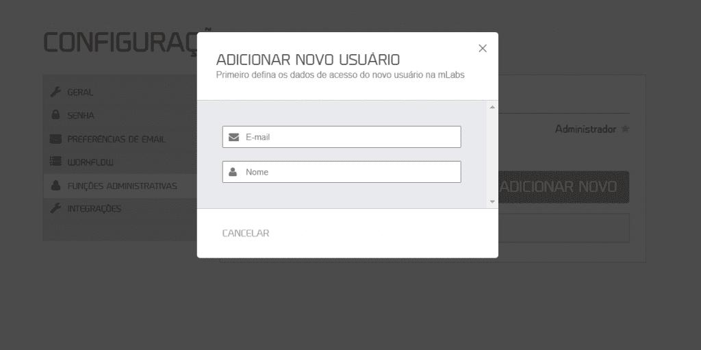 workflow mLabs: uma aba aparece sobre a tela para que você possa incluir o e-mail e o nome.
