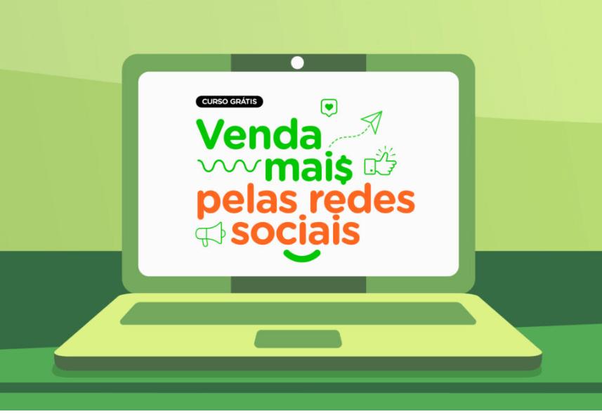 curso venda mais pelas redes sociais: imagem de um notebook desenhado ao fundo verde com o nome do curso escrito na tela