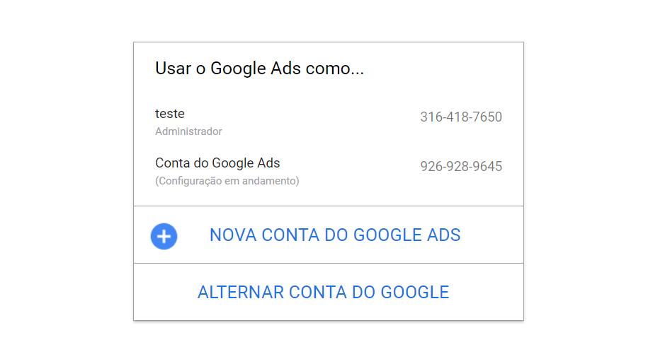 Keyword Planner 1: login para o Google Ads com opções de escolher uma conta já feita, criar uma nova conta do Google Ads ou alterar a conta do Google.