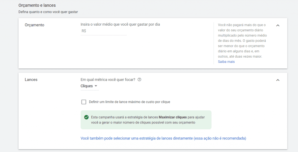 Keyword Planner 3: opção de escolher os lances e o orçamento que poderá ser dado no Google Ads para cada uma das palavras.