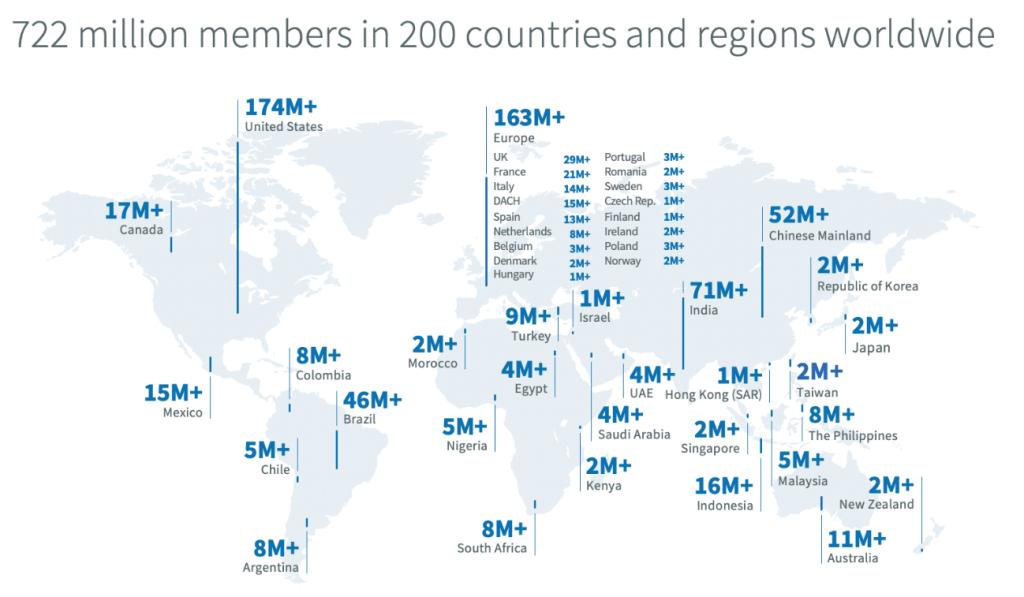 o que é linkedin: imagem do mapa mundi indicando o número de usuários do LinkedIn por países