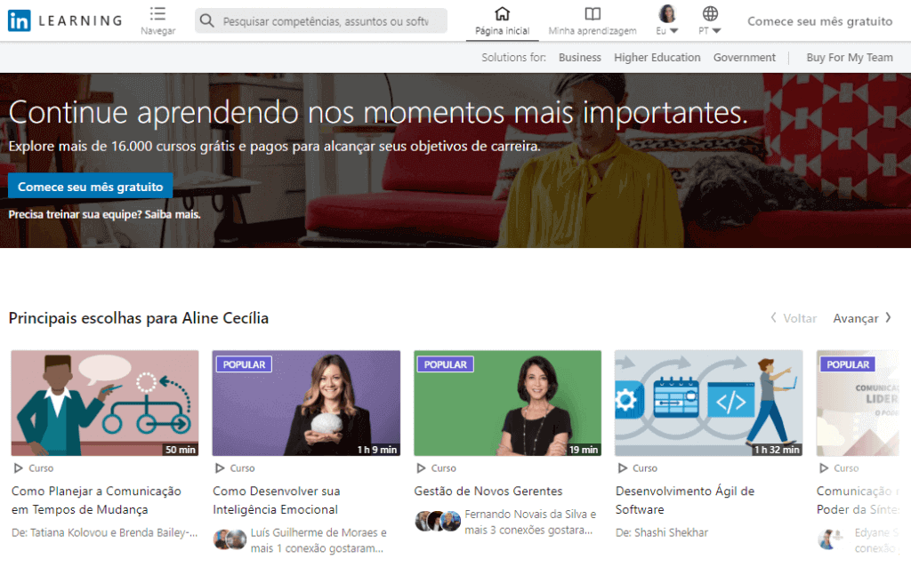 o que é linkedin: imagem da tela inicial do LinkedIn Learning mostrando os principais cursos