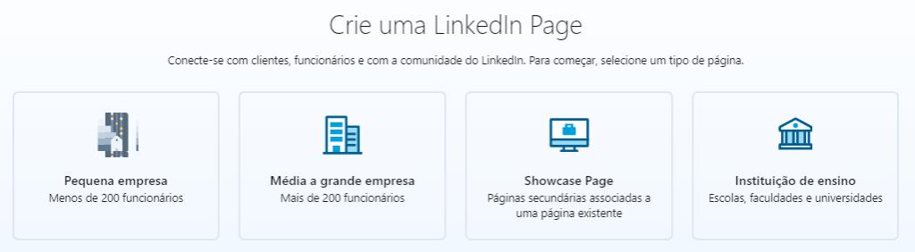 o que é linkedin: imagem da página de criação de Company Page