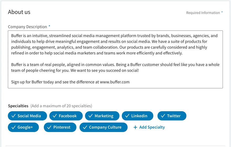 o que é linkedin: imagem da descrição da Company Page indicando onde se localizam as hashtags