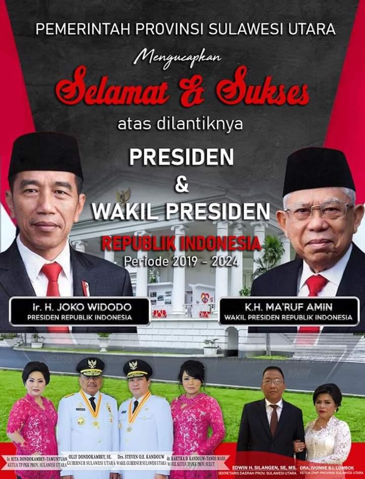 Usai Dilantik Pemprov Sulut Ucapkan Selamat Dan Sukses Presiden Ri Jokowi Dan Wakil Presiden Ma Ruf Amin Manado Line