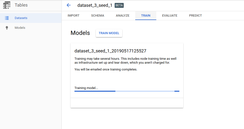 Model training at Google AutoML Tables