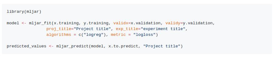 MLJAR R API