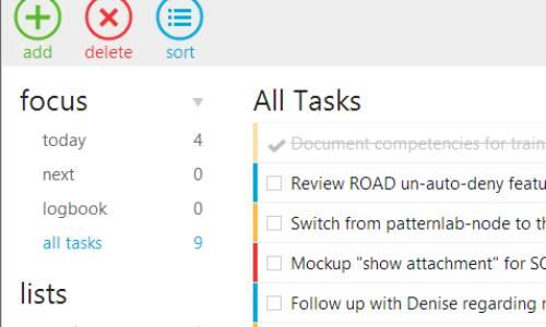 A task list in Nitro