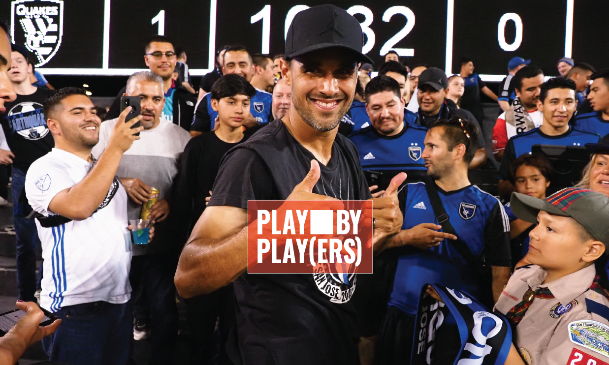 Chris Wondolowski with the fans.