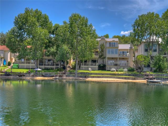This move in ready condo overlooks the Texas Hill Country and a unique freshwater reflecting pond. Features include open living, wood burning fireplace, galley kitchen, plenty of storage and trendy wood ceilings. The oversized master suite features a private bath  and easy access to a covered deck with waterfront views.  Exterior features include a 1-car carport, large covered deck, fishing pier and a lush lawn leading down to the reflecting pond. Sold fully furnished with few exceptions.