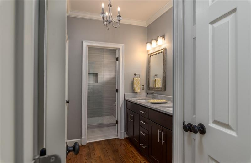 Custom chandelier puts the finishing touch in the master bath retreat!