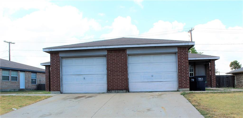 Full duplex for sale. 1814 is a three bedroom, two bath with a two car garage. This unit is currently vacant and make ready is complete. 1812 is a two bedroom, two bath with a two car garage. This unit is lease for 750 a month. Selling as is.
