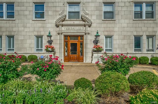 Condo living at its very best is the historic Versailles building across from Forest Park. This new renovation of the condo is a complete gut rehab. The kitchen is spacious & bright with a breakfast nook. The finishes include custom cabinets, quartz countertops & gas stove. Refinished dark hardwood floors. Walk to restaurants, coffee shops, theater, Metrolink & more. 24-hr doorman & on-site management. 1 garage space. Association fee includes all utilities.