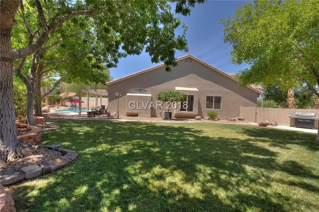 "Stunning single story in the heart of Green Valley Ranch. This home has an inviting open floor plan with an extensive amount of upgrades, including 42"" kitchen cabinets with under cabinet lighting, quartz countertops, glass tile backsplash as well as plantation shutters. The backyard does not disappoint offering a large newly resurfaced pool, covered patio, outdoor kitchen with bbq, fire pit/seating area and a large grassed area on the side."