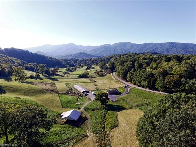 Your chance to own a private 42.7-acre estate located 5 minutes from Downtown Waynesville & only 35 min to Asheville. Adjacent to a 27-hole golf course & Waynesville Country Club. Long-range spectacular views, paved access, city water/sewer available. There is no other property in Waynesville like this. Build your own castle or develop condos/high end residential - you choose. Pasture, 48x52 barn, fencing, creek & 1658 sq ft 3BD/2BA home.