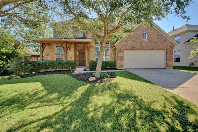 Built by Highland Homes in 2007. 3,547 square feet.  4 bedrooms, 3.5 baths, 3 car tandem garage. 4 Living: game room, formal living, family, media room. Covered stone porch. Granite counter tops. Natural gas. High ceilings. Kitchen island. Formal Dining. Fireplace. Walking distance to schools. Expanded backyard stone patio. Full sprinkler. 4 sides stone/brick. Water softener. Mature privacy trees in the backyard. Master down with double vanity, garden tub, separate shower. Community pool, parks, trails.