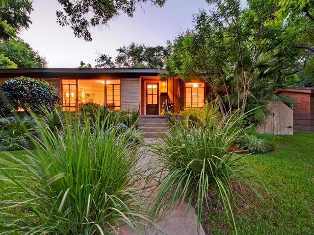 A Mid-Century dream on one of Austin's most gorgeous streets.  Fully remodeled in 2004 w/ many improvements since. Custom kitchen w/ sprawling granite and stainless appliances.  Custom walk-in master closet, fireplace with entertainment, steam shower and tub with in-line heater. Original built-ins and 2nd bath with mid-century character. Meticulous landscaping, great trees with private seating. 12x16 Kanga Shed ready to convert. Dedicated park across the street for unencumbered 2nd story city views.