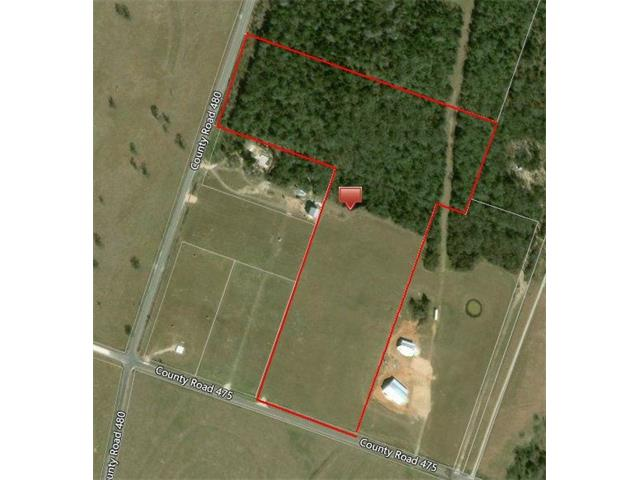 20 acre property at the intersection of CR 480 and CR 475.  Property has two personalities, 10 acres are in hay production and 10 acres are heavily treed.  You'll have the choice of where to build.  See the picture of the layout of the land.