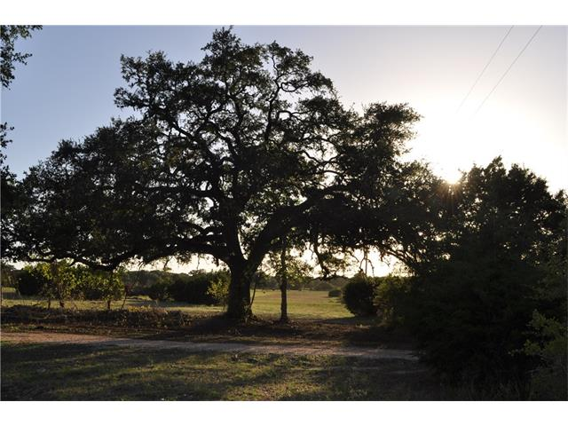 Property is located in Driftwood TX and when the wind is blowing from the right direction you can smell the BBQ.   Large oak tree at the entrance to the property, terraced pasture land and several mature oaks along the back fence line. Fenced on three sides with beautiful sunset and Hill country views.