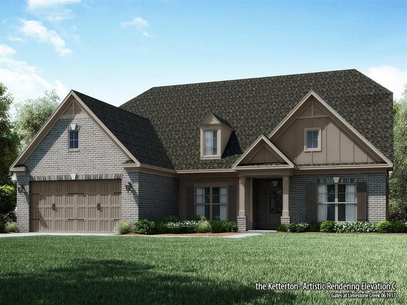 This 3 sides brick ranch plan on a basement is single level living at its finest! Right off of the foyer is a formal dr & an open room showcasing a gorgeous FP. The great room opens right into the kitchen featuring an island, walk-in pantry, & breakfast area. Hardwoods are in the dr, hallway, great room, & downstairs bath. 2/1 on one side & the dramatic owner's suite on the other, providing the perfect amount of privacy. The owner's suite features a spa inspired br w/dual vanities, garden tub, &  a massive walk-in closet.